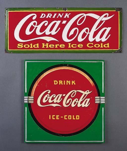 TWO COCA-COLA SIGNS.