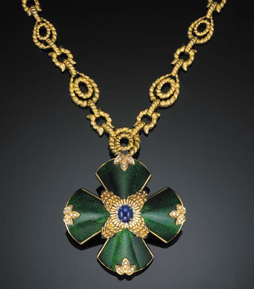 AN ENAMEL, SAPPHIRE AND DIAMOND PENDENT NECKLACE, BY DAVID WEBB