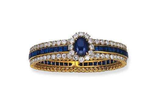 A SAPPHIRE AND DIAMOND BRACELET, BY VAN CLEEF & ARPELS
