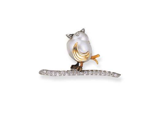 A CULTURED PEARL AND DIAMOND BIRD BROOCH