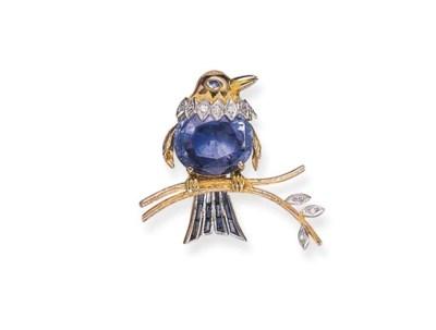 A SAPPHIRE AND DIAMOND BIRD BR