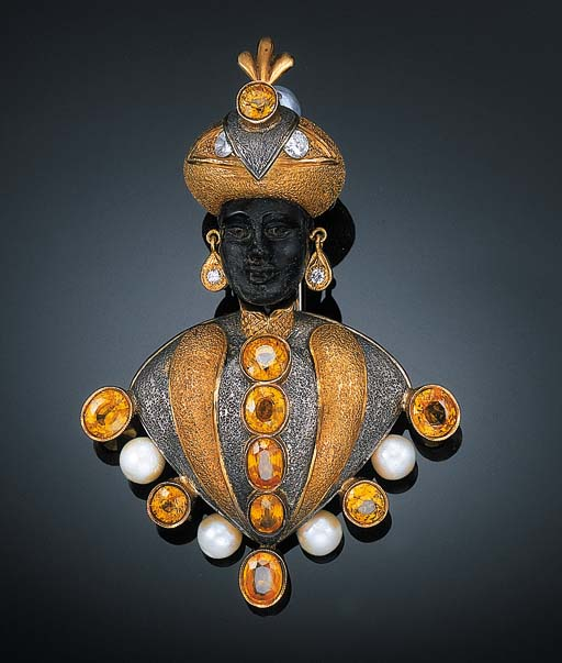 A YELLOW SAPPHIRE, CULTURED PEARL AND DIAMOND BLACKAMOOR BROOCH, BY NARDI