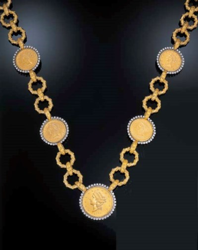 A COIN AND DIAMOND NECKLACE, B