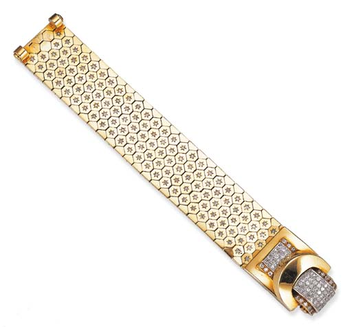 "A DIAMOND AND 18K GOLD ""LUDO HEXAGONE"" BRACELET, BY VAN CLEEF & ARPELS"