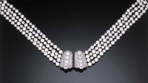 A FINE PEARL, CULTURED PEARL AND DIAMOND NECKLACE, BY CARTIER