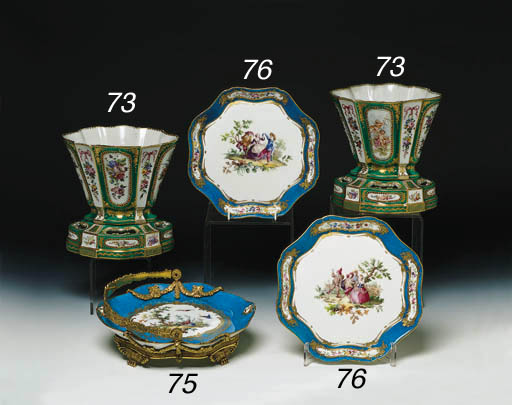 A PAIR OF SEVRES PATTERN VASES