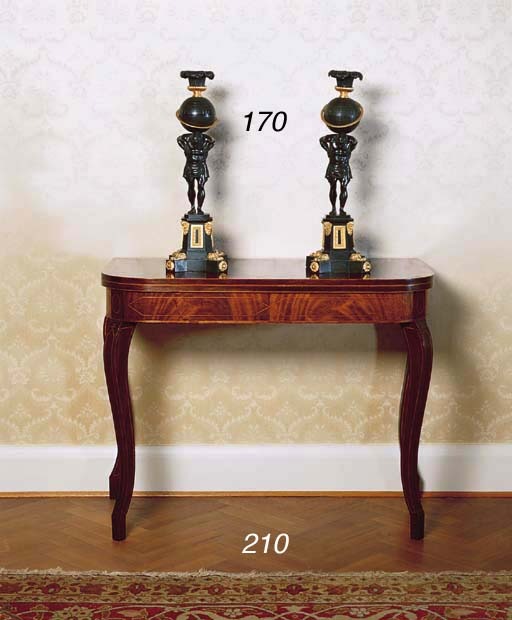 A PAIR OF GEORGE IV BRONZE AND