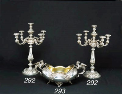 A PAIR OF VIENNESE SILVER FOUR