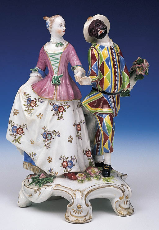 A CHELSEA GROUP OF HARLEQUIN A