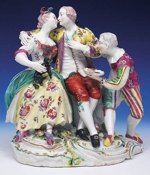 A DERBY FIGURE GROUP OF A PAIR