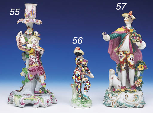 A DERBY FIGURAL CANDLESTICK OF