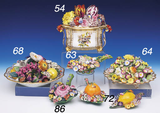 TWO MEISSEN FLORAL BOXES AND C