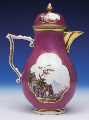 A MEISSEN PURPLE GROUND BALUST