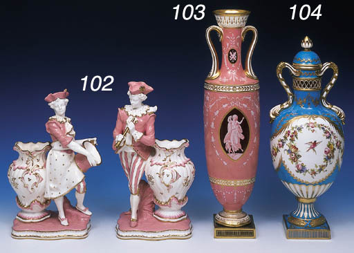 A PAIR OF MINTON FIGURAL VASES