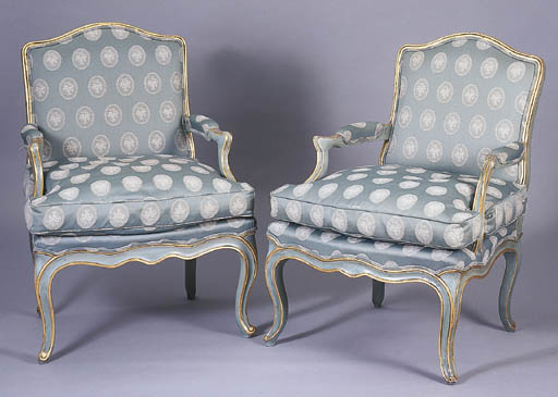 A PAIR OF LOUIS XV BLUE AND GI