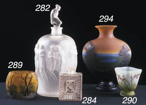 AN ETCHED AND ENAMELLED VASE