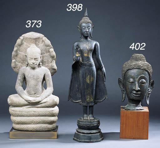 A THAI BRONZE HEAD OF BUDDHA