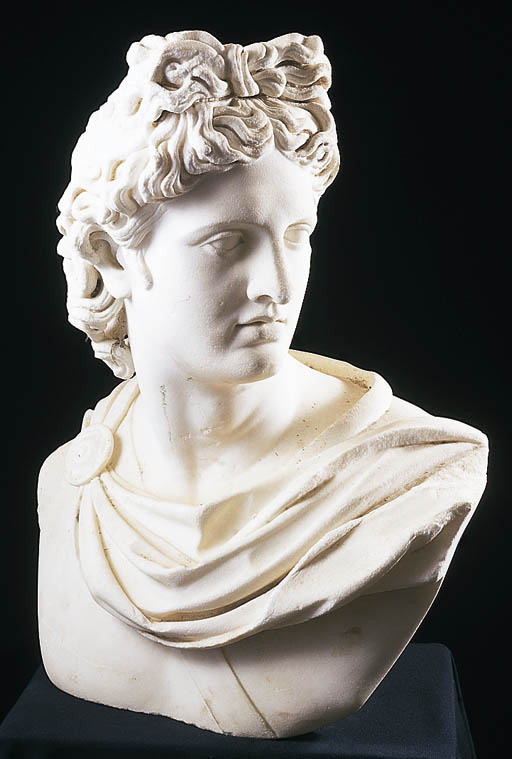 A MARBLE BUST OF THE APOLLO BE