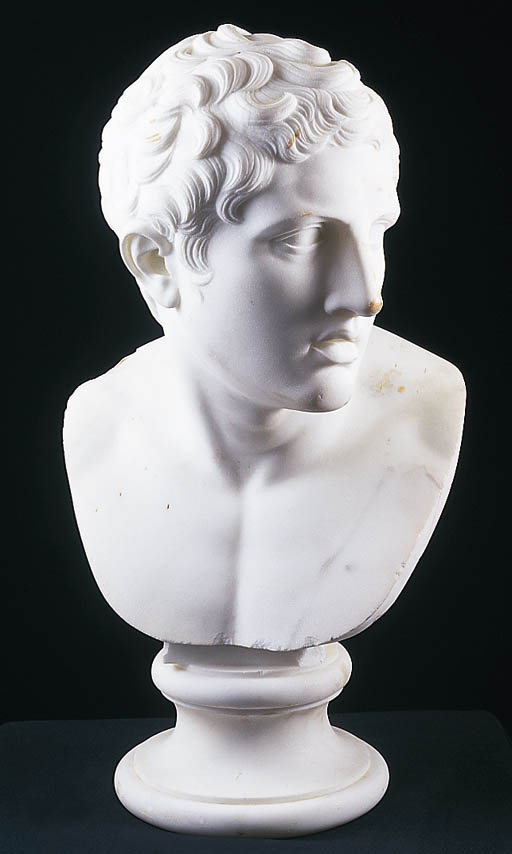 A MARBLE BUST OF MELEAGER