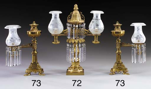 A BRASS ARGAND LAMP WITH TWO A