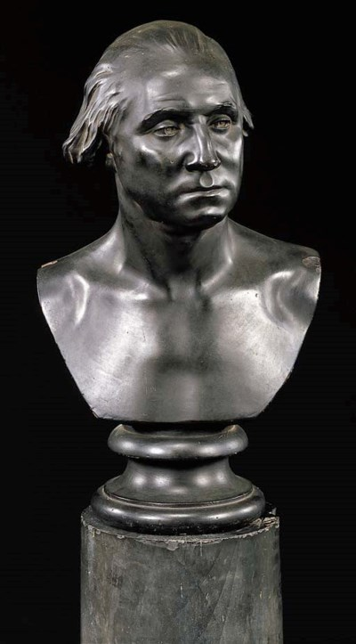 A BLACK PATINATED PLASTER BUST