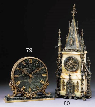 A GOTHIC REVIVAL ONYX AND GILT