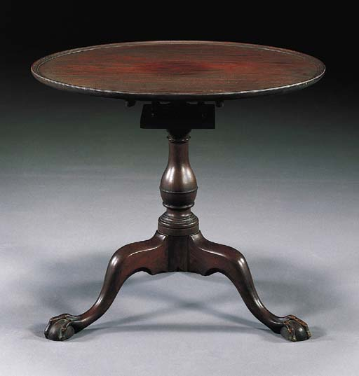 A CHIPPENDALE MAHOGANY DISH-TOP TEA TABLE