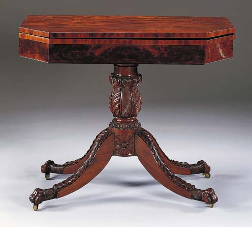 A FEDERAL CARVED MAHOGANY GAME