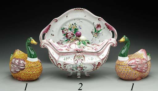 A FRENCH FAIENCE OVAL SOUP-TUR