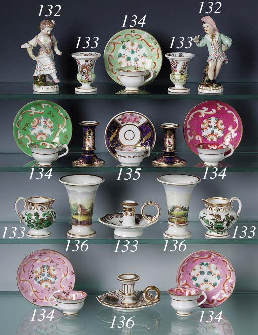 FIVE ENGLISH TOY-SIZED TEACUPS