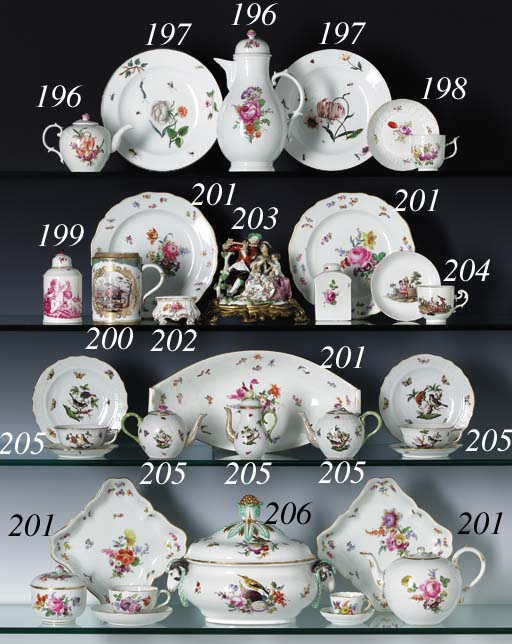FIVE VARIANT MEISSEN CUPS AND