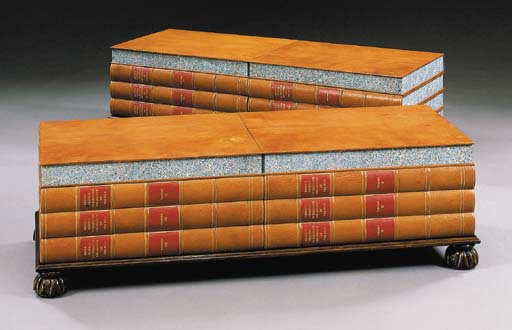 PAIR OF LARGE BOOK-FORM LOW TA