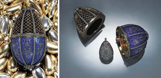 AN ENAMEL AND DIAMOND EGG OBJE