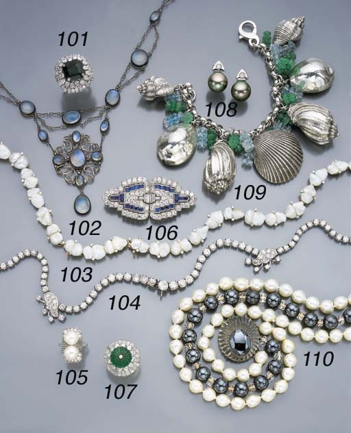 A DIAMOND AND PEARL NECKLACE,