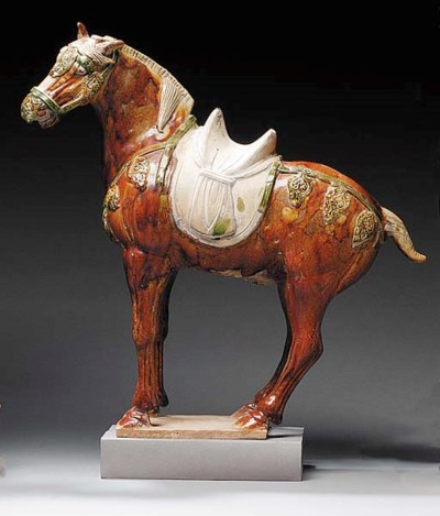 A SANCAI-GLAZED POTTERY HORSE