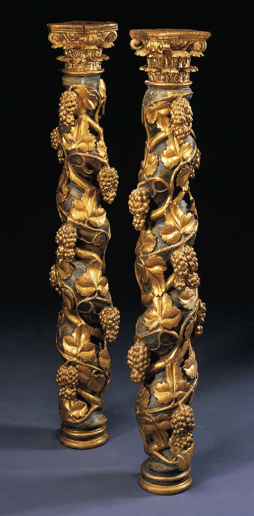 A PAIR OF SPANISH BAROQUE POLY