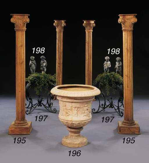 A SET OF FOUR CARVED-PINE CORI