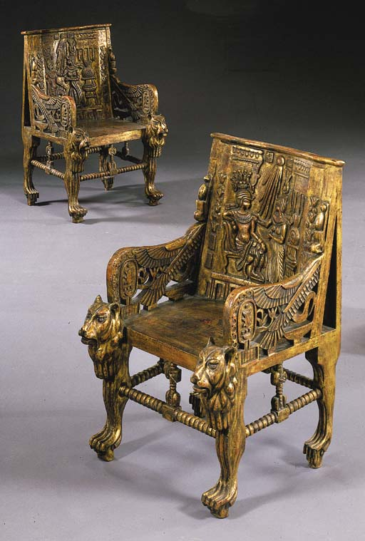A PAIR OF EGYPTIAN REVIVAL GIL