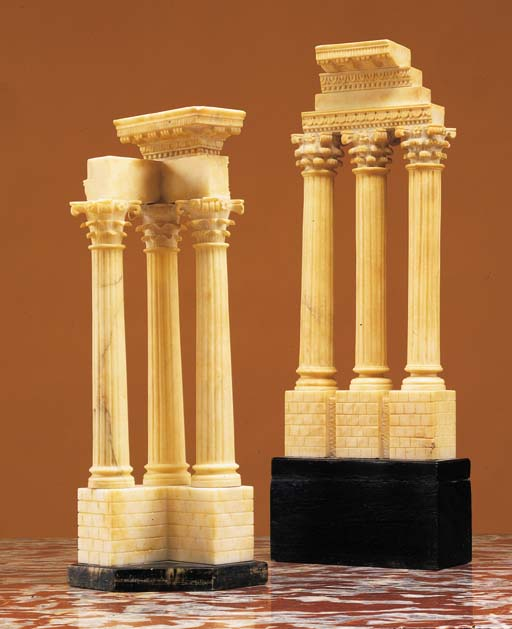 TWO ITALIAN CARVED MARBLE GRAN