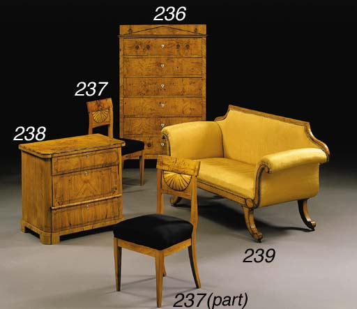 A SET OF FOUR BIEDERMEIER ASH,