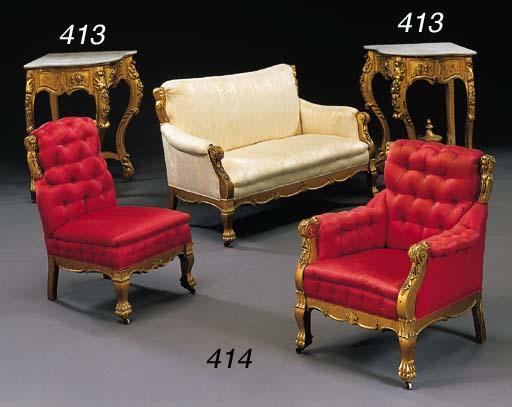A pair of Louis XV style giltw