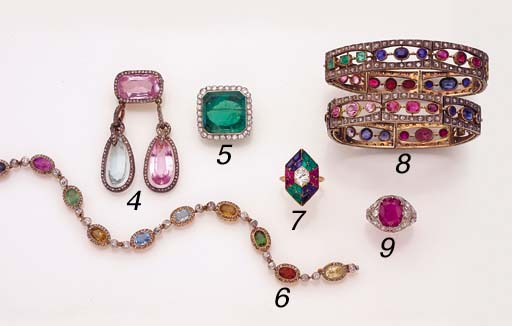 AN ANTIQUE GEMSTONE AND DIAMON