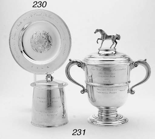 AN ENGLISH SILVER TROPHY PLATE