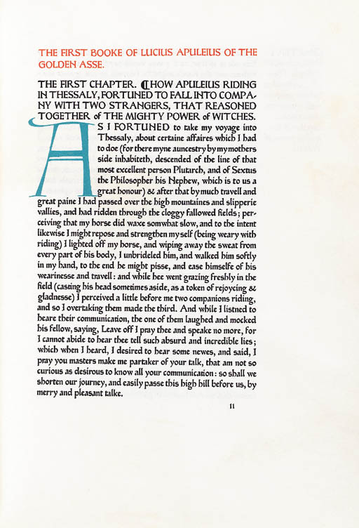 APULEIUS, Lucius. The XI. Book