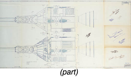 [APOLLO BLUEPRINT]. Command and Services Modules. NNA, n.d. 27.5 x 67 in., folded, scale 1/8. Two early drawings of the complete Command and Service Modules (CSM) with Launch Escape System (LES) attached. The second drawing shows the configuration rotated 90 degrees with structural views of the Command Module (CM), attitude control engines, fuel tanks, and associated fuel lines. CM support fairings and LES jettison motor are illustrated. BOLDLY INSCRIBED WITH THEIR APOLLO FLIGHT NUMBER BY BUZZ ALDRIN, ALAN BEAN, GORDON COOPER, WALT CUNNINGHAM, FRED HAISE, EDGAR MITCHELL, WALLY SCHIRRA, AND TOM STAFFORD.