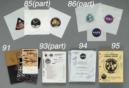 [APOLLO SPACE SUIT BETA EMBLEMS].  A complete set of Beta cloth manned-mission emblems, Apollo 7 through 17. All approx. 9 x 9 in. or slightly smaller.  Beta cloth material was made of fiberglass with a teflon coating and provided a fire protection layer for the Apollo space suits. Its use began after Apollo 1 spacecraft fire.  (11)