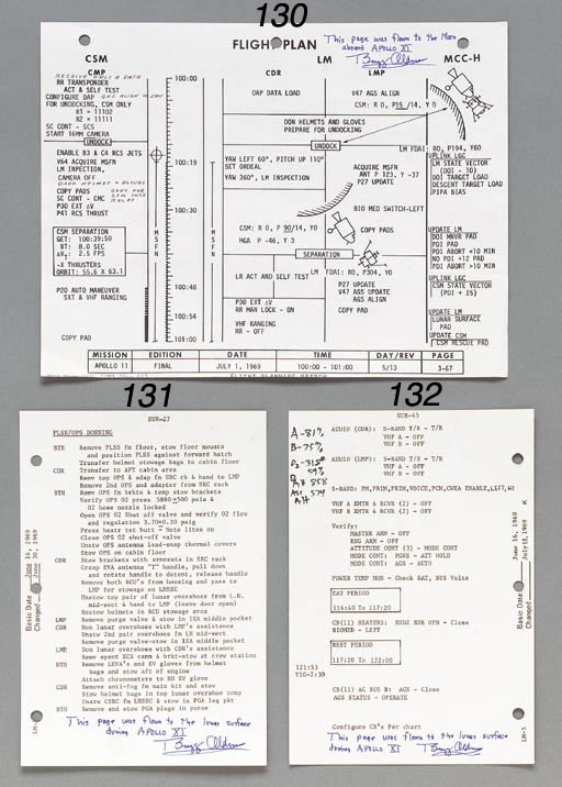 """[FLOWN CHECKLIST PAGE]. Apollo 11, LM-5, Lunar Surface Checklist.  NASA/MSC, June 1969. A single sheet approx. 5.5 x 8 in. with page 44 and 45 from the checklist flown to the lunar surface. Flight notes by Aldrin. Page 44 illustrates panel 16 of the LM which shows the circuit breaker configuration for camera, communications, environmental control, propulsion, and other LM systems. Page 45 lists audio and other switch-setting steps for Armstrong and Aldrin after returning inside the LM after their moon walk. The page also lists times for their meals and rest periods prior to lift-off from the moon's surface. Flight notes by Aldrin while on the lunar surface of """"A-81 B-75 O2-31.8#,59 D AH 858, Asc AH  574"""". These numbers include reference to system power and remaining oxygen levels. INSCRIBED AND SIGNED BY BUZZ ALDRIN on page 45: """"This page was flown to the lunar surface during Apollo XI, Buzz Aldrin"""". [With:] Typed letter signed by Buzz Aldrin.  (2)"""