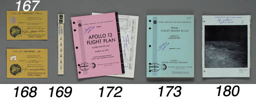 """Apollo 13 Final Flight Plan. NASA/MSC, 16 March 1970. 4/so Divided into 6 sections including a detailed timeline that lists activities in a hour-per-page format of the most dramatic Apollo mission. Other sections include a general overview, detailed test objectives, and a consumable list. INSCRIBED AND SIGNED TWICE BY FRED HAISE on the cover: """"Fred Haise, Apollo 13 LMP"""" and on page 3-38: """"Flight plan change, Boom!, Fred Haise, Apollo 13 LMP."""" He has placed an X at the 55 hour and 54 minute mark of the timeline, the exact time the oxygen tank number 2 exploded."""