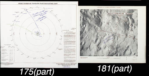 """[MISSION CHARTS - SIGNED]. Apollo 13 Lunar Orbit Science Contingency Flight Chart. 1970. Approx. 14 x 58 in. Plots targets on the lunar surface for all onboard cameras. BOTH BOLDLY INSCRIBED AND SIGNED BY FRED HAISE: """"Fred Haise, Apollo 13 LMP"""" -- Apollo 13 Translunar - Transearth Trajectory Plotting Chart.  1970. Approx. 20 x 24 in. Plots spacecraft path from the earth to the moon, lunar orbit, and return. BOTH BOLDLY INSCRIBED BY FRED HAISE: """"Our problem occurred ~ 200,000 miles from earth! 13 April 1970, Fred Haise, Apollo 13 LMP."""" He has marked the exact spot on the trajectory where the explosion occurred.  (2)"""