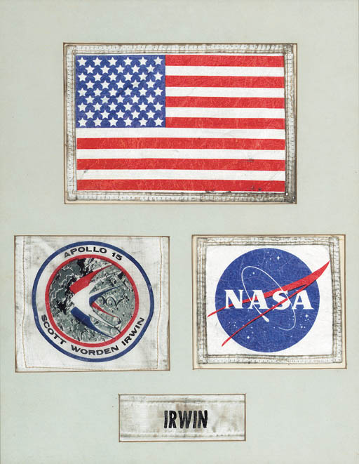 Flown ASTRONAUT JAMES IRWIN'S SPACE SUIT EMBLEMS AS WORN ON THE LUNAR SURFACE. A set of 4 framed Beta cloth emblems from the Apollo 15 Lunar Mission, in the original presentation matte and frame. Approx. 340 x 265 mm.